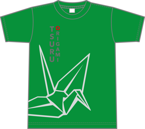 Origami Crane Outline T-shirt (green)